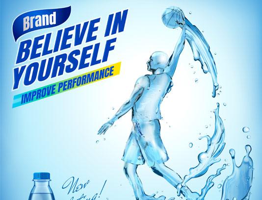 وکتور پوستر تبلیغاتی آب معدنی ورزشی