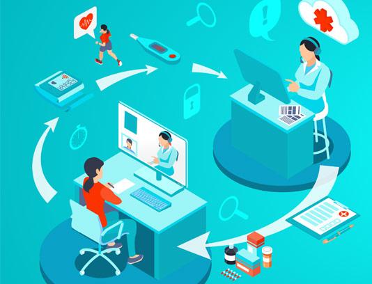 وکتور طرح خدمات پزشکی آنلاین