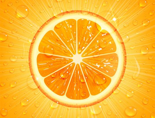 وکتور پرتقال با بکگراند نارنجی و قطرات آب
