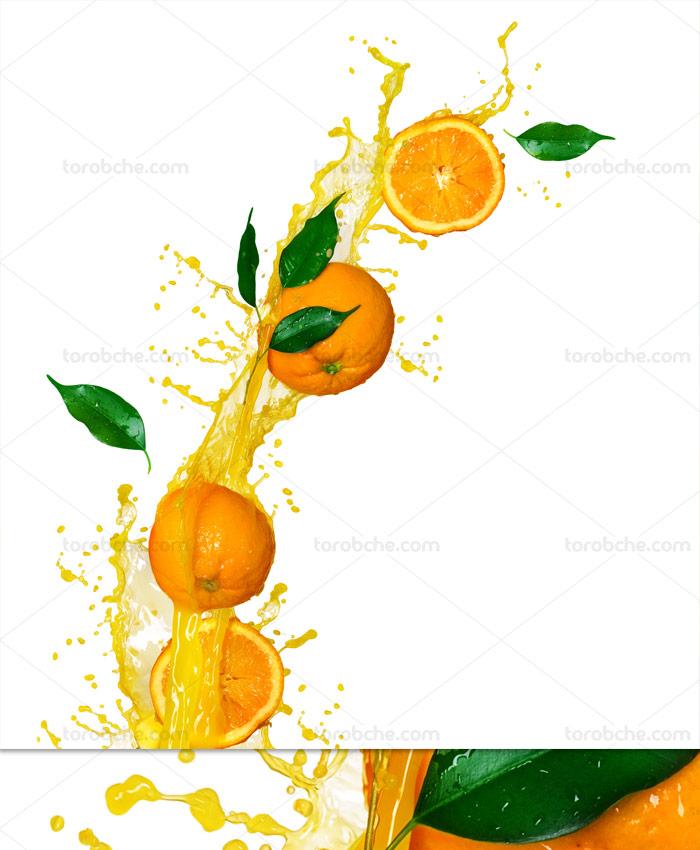 عکس میوه پرتقال و اسپلش آبمیوه