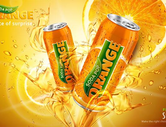 وکتور طرح تبلیغاتی نوشیدنی پرتقالی گازدار