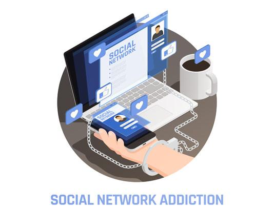 وکتور طرح اعتیاد به شبکه اجتماعی
