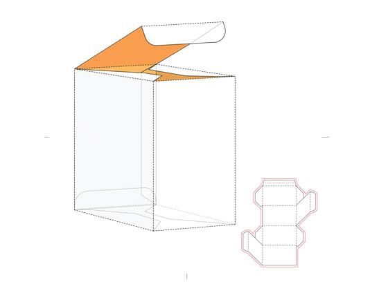 وکتور جعبه بسته بندی با خط برش