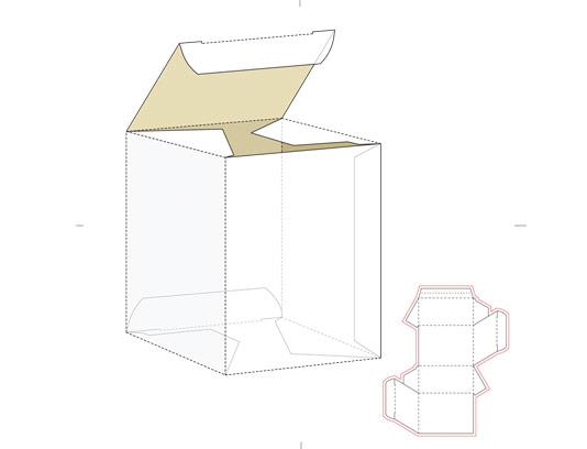وکتور طرح گسترده مکعب با خط برش