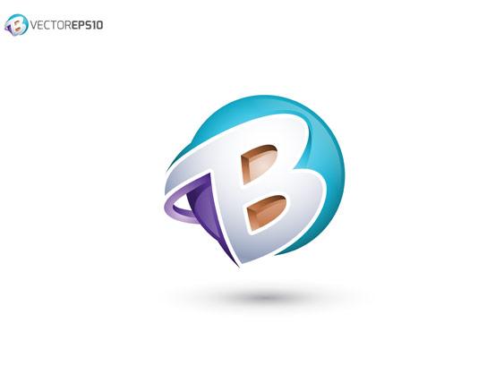 وکتور لوگو انتزاعی با حرف B لاتین