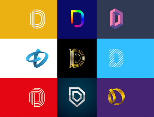 وکتور لوگو های خلاقانه با حرف D لاتین