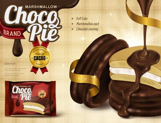 وکتور پوستر تبلیغ بیسکویت با روکش شکلات