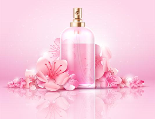 وکتور پوستر شیشه عطر با رایحه گل بهاری