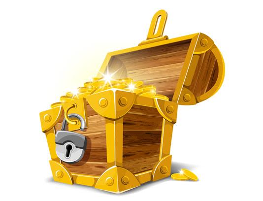 وکتور صندوقچه گنج طلا