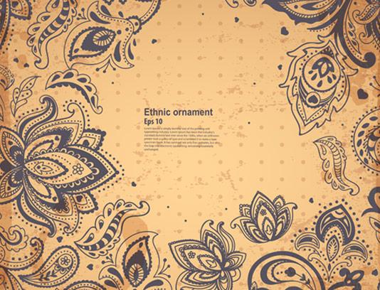 وکتور بکگراند و حاشیه گل و بوته سنتی
