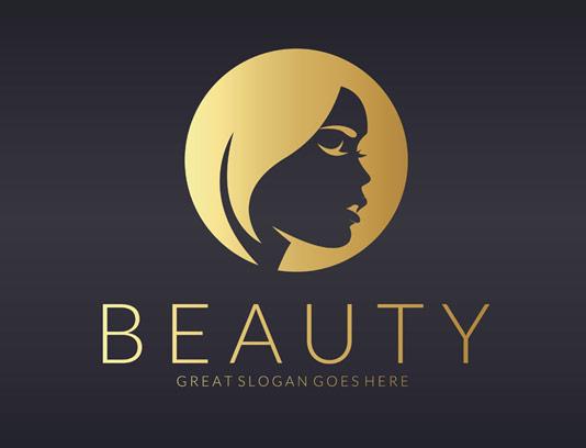 وکتور لوگوی طلایی سالن زیبایی