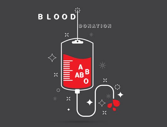وکتور اهدای خون با چهار گروه خونی