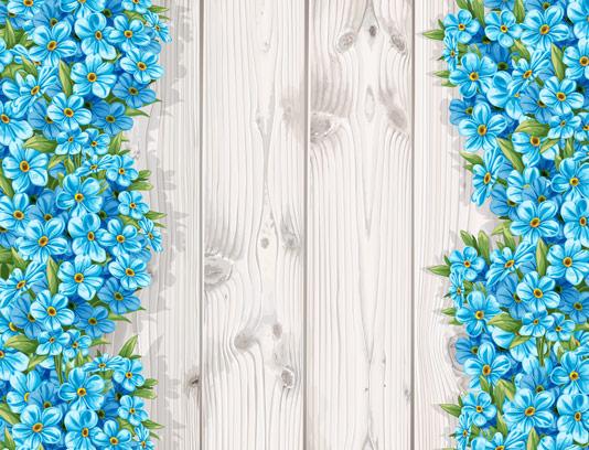 وکتور گل های آبی رنگ