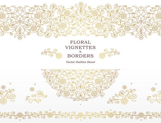 وکتور گل حاشیه کارت پستال