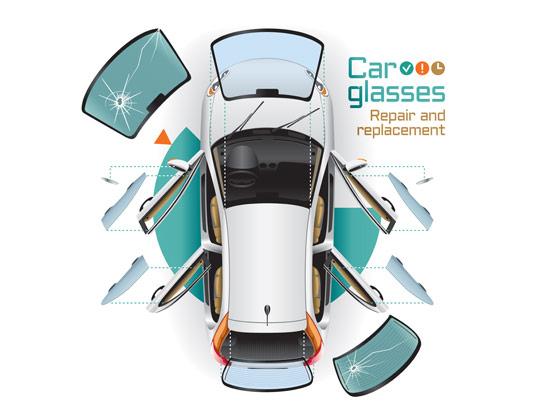 وکتور مفهومی تصویض و تعمیر شیشه های خودرو
