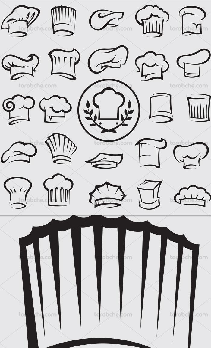 وکتور انواع کلاه سرآشپز
