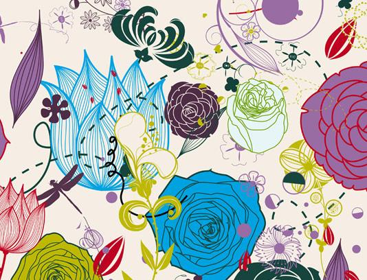 بکگراند طرح گل های رنگی