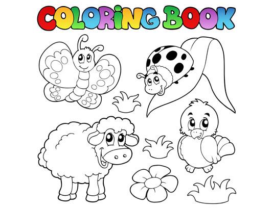 وکتور جذاب حیوانات برای رنگ آمیزی کودکان
