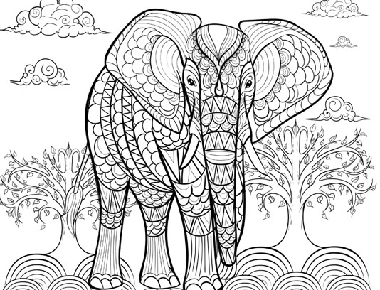وکتور رنگ آمیزی بزرگسالان فیل