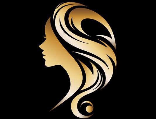 وکتور لوگو طلایی سالن آرایشی و بهداشتی بانوان