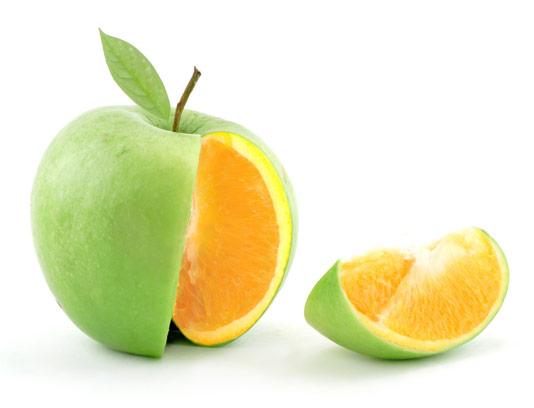 عکس خلاقانه ترکیب میوه سیب و پرتقال