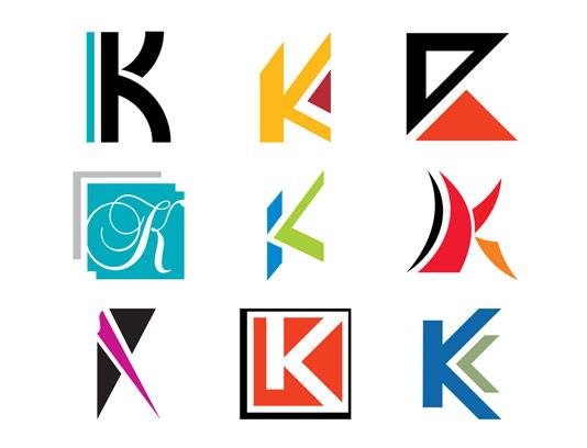 وکتور لوگو خلاقانه حرف لاتین K