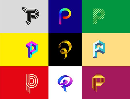 وکتور لوگو های خلاقانه با حرف P لاتین
