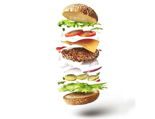 عکس با کیفیت همبرگر با لایه های معلق