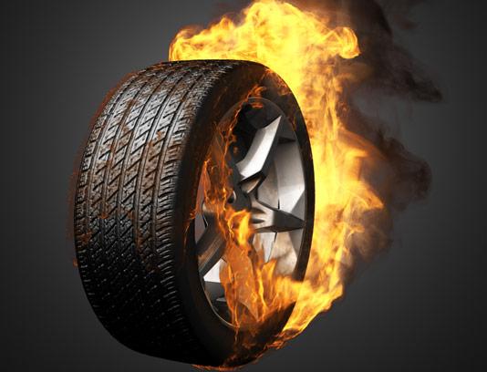 تصویر لاستیک خودروی آتش گرفته