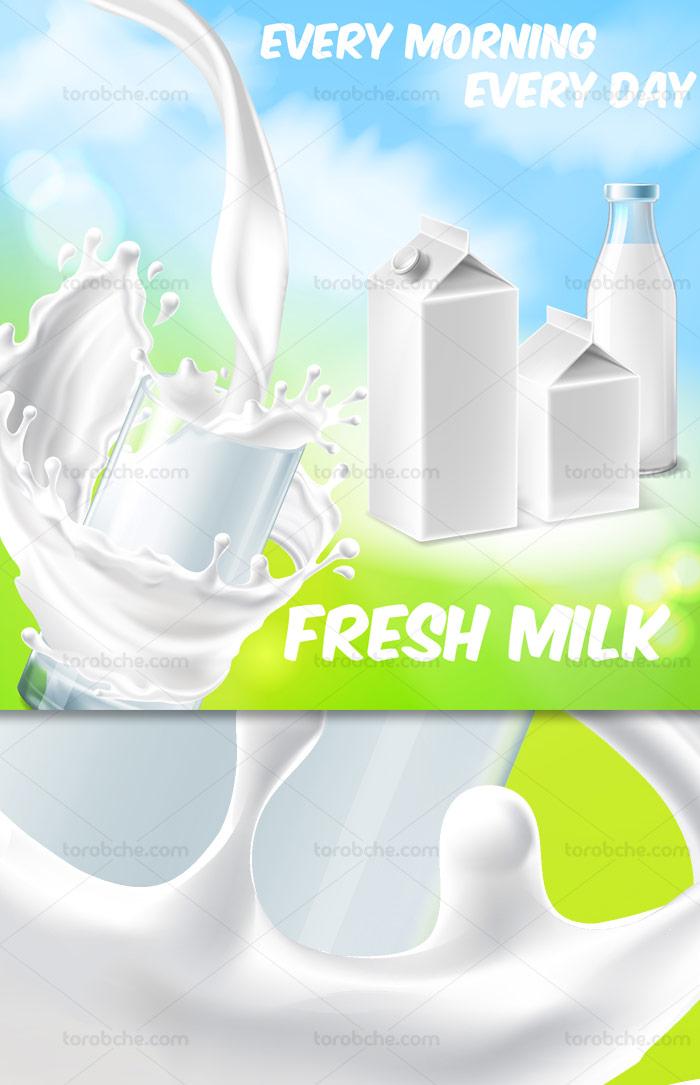 وکتور طرح تبلیغاتی شیر گاو