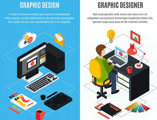 وکتور ایزومتریک طراحی گرافیک
