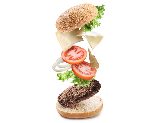 عکس با کیفیت و خلاقانه ساندویچ همبرگر