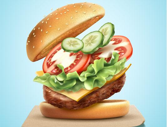 وکتور جذاب ساندویچ همبرگر
