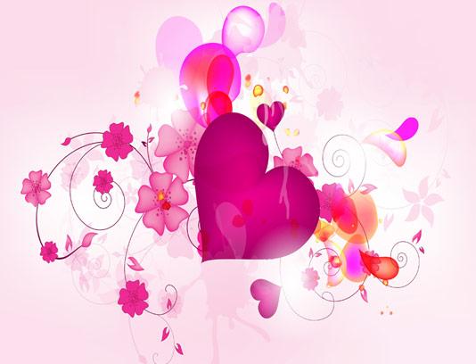 وکتور بکگراند انتزاعی قلب و گل
