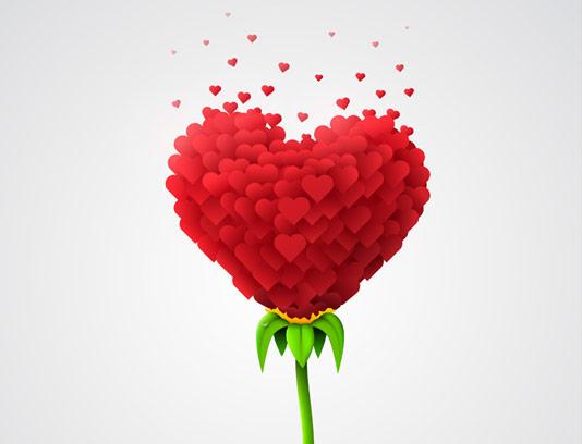 وکتور قلب طرح گل با کیفیت بالا