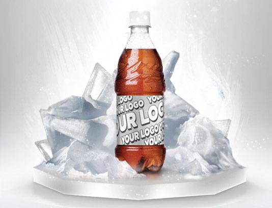 موکاپ بطری نوشابه و یخ