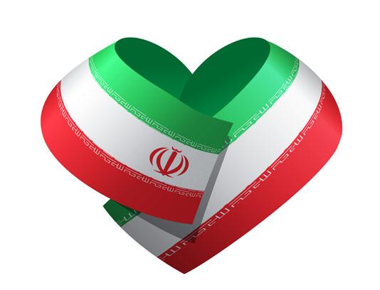 وکتور پرچم ایران به شکل قلب