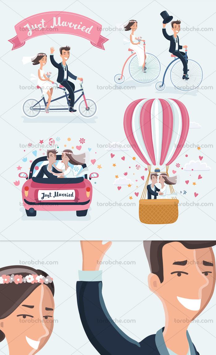 وکتور جذاب ازدواج و عروسی