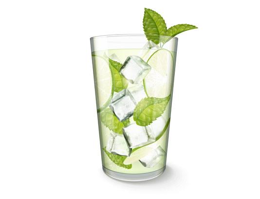 وکتور نوشیدنی موهیتو با یخ