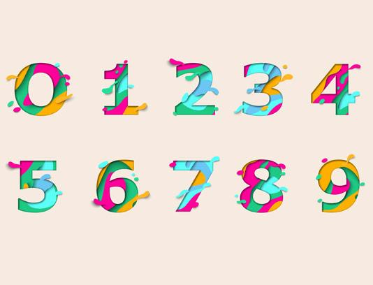 وکتور اعداد لاتین رنگارنگ
