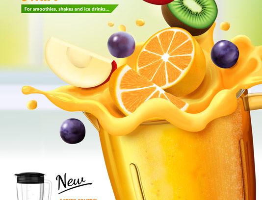 وکتور پوستر تبلیغاتی آب پرتقال