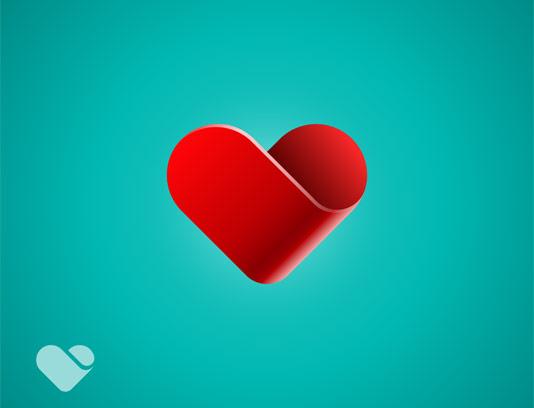 وکتور قلب با رنگ قرمز