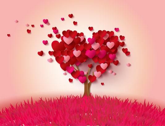 وکتور درخت با المان قلب