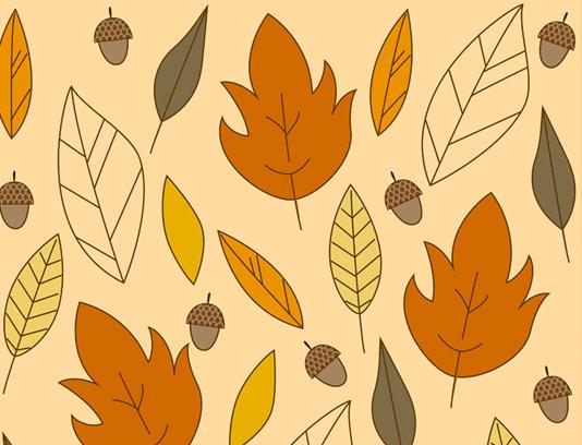 وکتور پس زمینه برگ پاییزی و بلوط