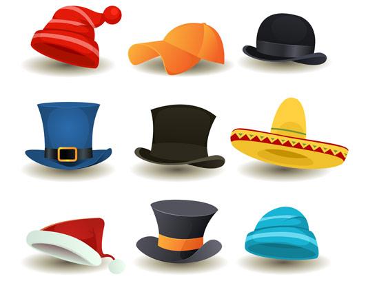 وکتور طرح انواع کلاه
