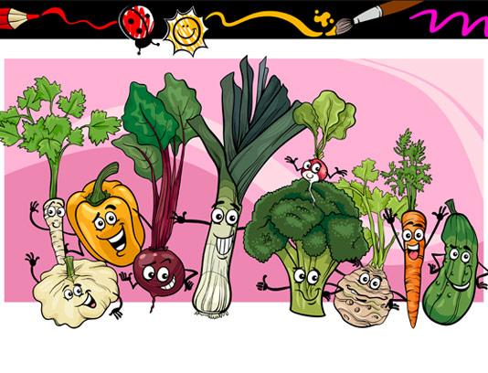وکتور رنگ آمیزی سبزیجات برای کودکان