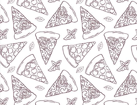 وکتور پترن انواع پیتزا سبزیجات