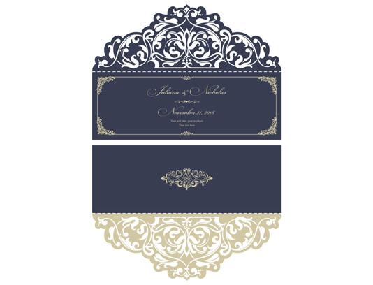 وکتور کارت دعوت عروسی با برش لیزر