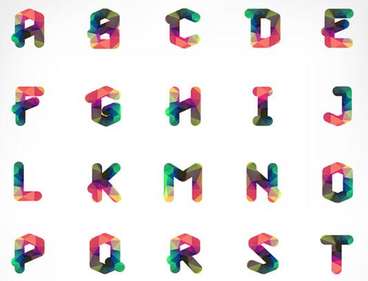 وکتور حروف لاتین طرح اشکال هندسی