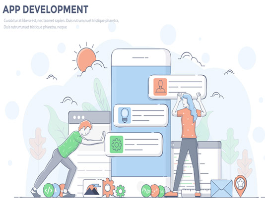 وکتور مفهومی توسعه نرم افزاری فلت